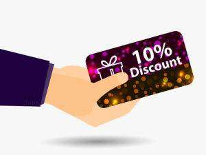 Coupon for a 10-percent discount in the hand. Gift card with bright sparks. Vector illustration.